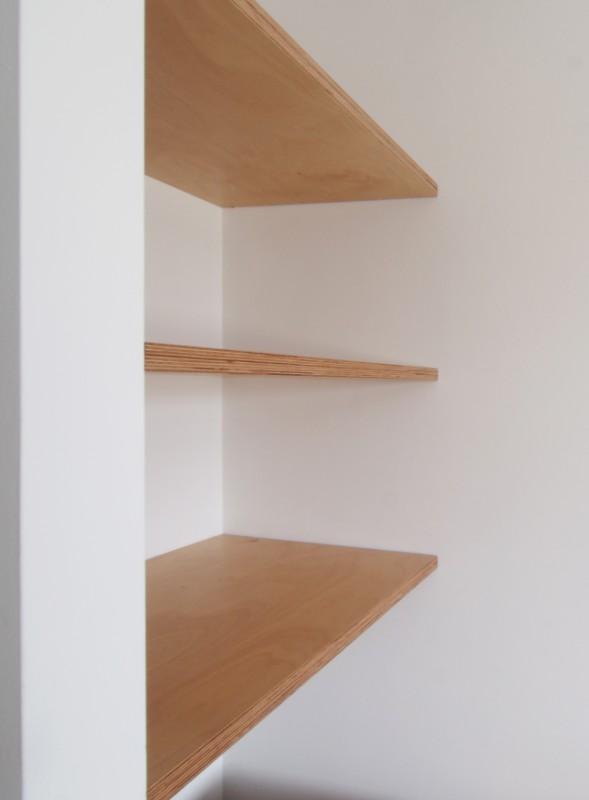 birch ply alcove shelves